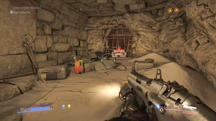 Inside you should walk ahead, but first it is better to turn to the right and pick up the Argent Cell - Kadingir Sanctum | Walkthrough - Walkthrough - Doom Game Guide & Walkthrough
