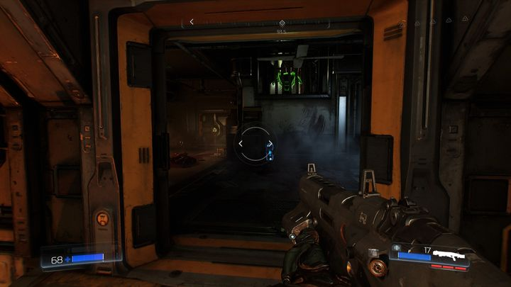Now go back to the gap in the sidewalk through which you jumped recently and enter the nearby room - Foundry | Walkthrough - Walkthrough - Doom Game Guide & Walkthrough