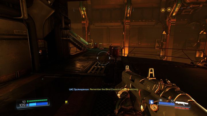 Once you collect another upgrade point, go back down and walk through the previously mentioned gate - Foundry | Walkthrough - Walkthrough - Doom Game Guide & Walkthrough