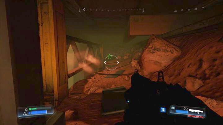 Behind the door you must jump one floor below through the gap in the barrier - Argent Facility | Walkthrough - Walkthrough - Doom Game Guide & Walkthrough