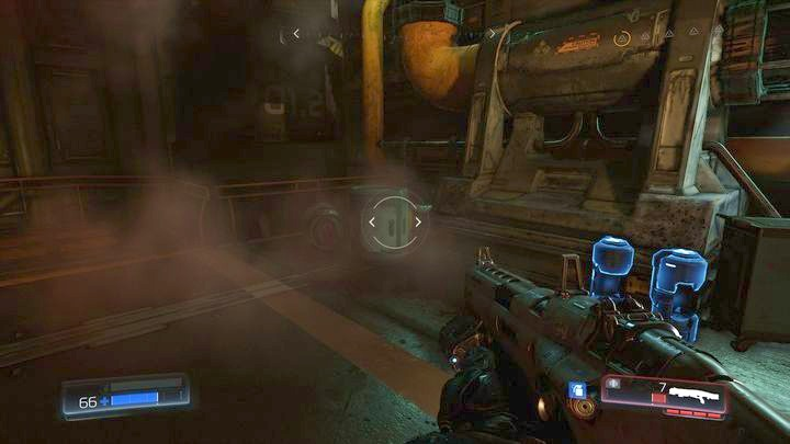 Pick it up and then pull the lever hidden behind the barrels slightly to the left - Argent Facility | Walkthrough - Walkthrough - Doom Game Guide & Walkthrough