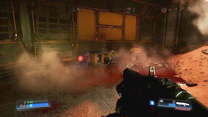 Before you destroy it, move along the wall on the left - Argent Facility | Walkthrough - Walkthrough - Doom Game Guide & Walkthrough