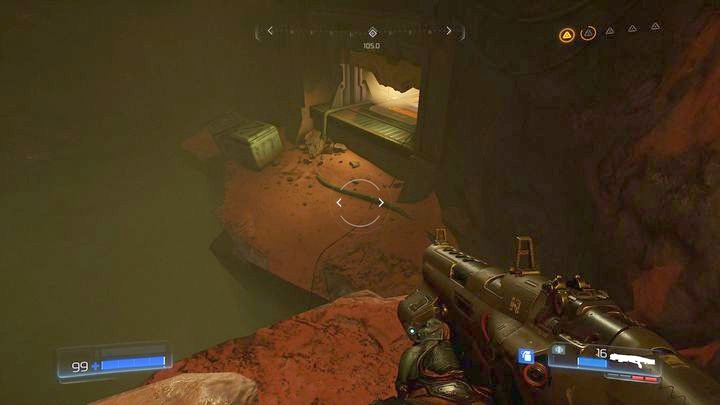 Stand in front of the blue barrier once the encounter ends and try walking it around from the left - Argent Facility | Walkthrough - Walkthrough - Doom Game Guide & Walkthrough