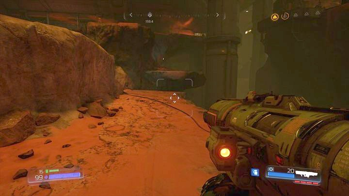 While climbing back up, turn to the rock ledge on the right - Argent Facility | Walkthrough - Walkthrough - Doom Game Guide & Walkthrough