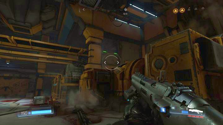 Near one of the machines you should notice a platform marked with green lights - Argent Facility | Walkthrough - Walkthrough - Doom Game Guide & Walkthrough