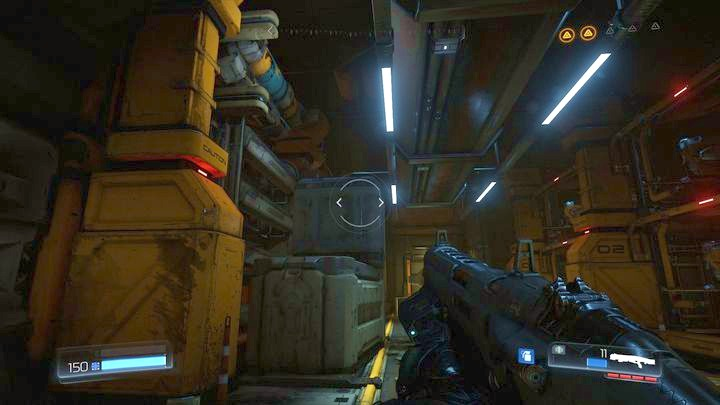 Two chests lying one on another will be there - Argent Facility | Walkthrough - Walkthrough - Doom Game Guide & Walkthrough