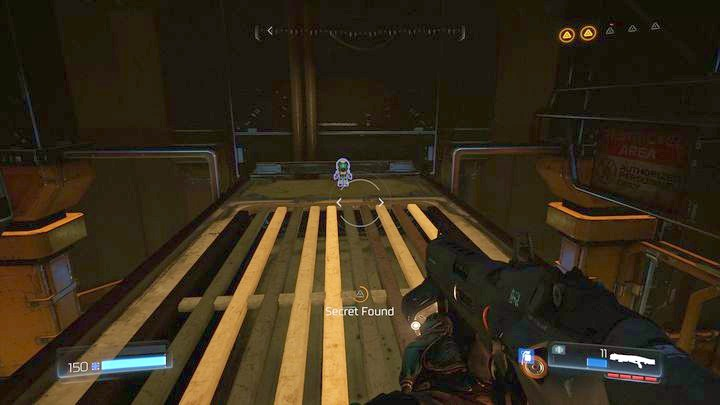 Use them to climb up and then jump on the ledge above the lamps hanging under the ceiling - Argent Facility | Walkthrough - Walkthrough - Doom Game Guide & Walkthrough