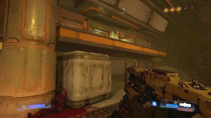 Once the battle is over, jump on the sidewalk that is on the right from the entrance - Argent Facility | Walkthrough - Walkthrough - Doom Game Guide & Walkthrough
