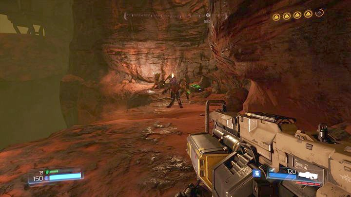 Before you complete the third objective, first walk through the door on the other end of the location and then quickly turn to the right - Argent Facility | Walkthrough - Walkthrough - Doom Game Guide & Walkthrough