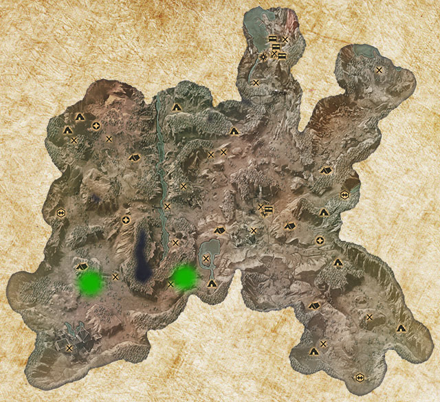 Two Logging Stands have been marked with green color - Quarries and logging stands - Quest list - Dragon Age: Inquisition Game Guide & Walkthrough
