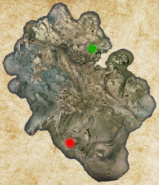 The only Logging Stand in Crestwood has been marked with green color - Quarries and logging stands - Quest list - Dragon Age: Inquisition Game Guide & Walkthrough