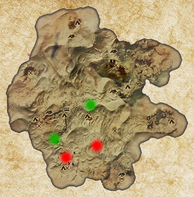Two Logging Stands in the Hissing Wastes have been marked with green color - Quarries and logging stands - Quest list - Dragon Age: Inquisition Game Guide & Walkthrough