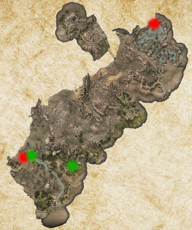 Two Logging Stands in Exalted Plains have been marked with green color - Quarries and logging stands - Quest list - Dragon Age: Inquisition Game Guide & Walkthrough