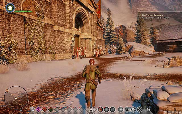 You need to reach the temple and go to the war room - The Threat Remains - Main storyline quests (The Path of the Inquisitor) - Dragon Age: Inquisition Game Guide & Walkthrough