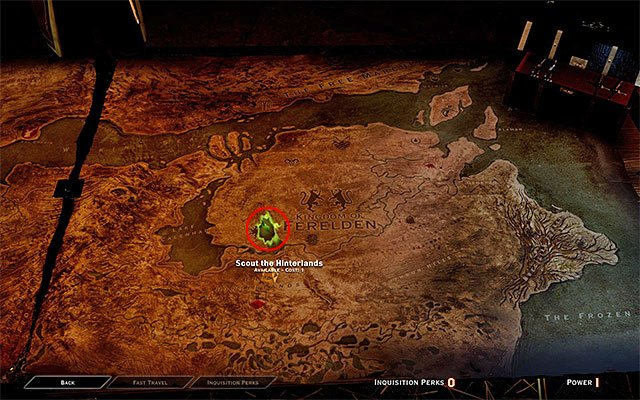 As of now, while at the war room, you only have to perform one action - pick the operation shown in the above screenshot (Scout the Hinterlands) and assign it to be performed (automatically) - The Threat Remains - Main storyline quests (The Path of the Inquisitor) - Dragon Age: Inquisition Game Guide & Walkthrough