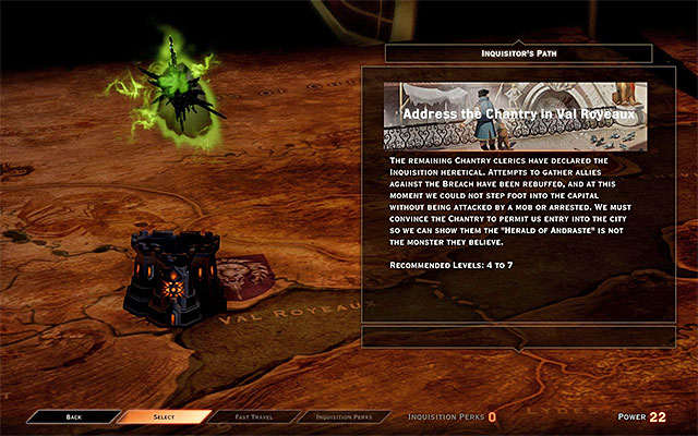 Before you take to completing the rest of this quest, you need to gather, at least, four Power points - The Threat Remains - Main storyline quests (The Path of the Inquisitor) - Dragon Age: Inquisition Game Guide & Walkthrough