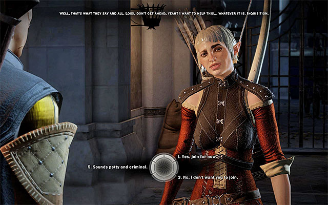 Pick the dialogue option to invite Sera into the party - A Friend of Red Jenny - new party member - The Inner Circle (companion quests) - Dragon Age: Inquisition Game Guide & Walkthrough