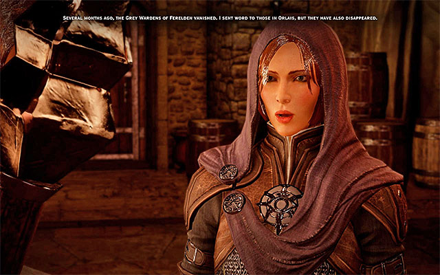 Leliana brings up the Grey Wardens during the conversation - The Lone Warden - new party member - The Inner Circle (companion quests) - Dragon Age: Inquisition Game Guide & Walkthrough