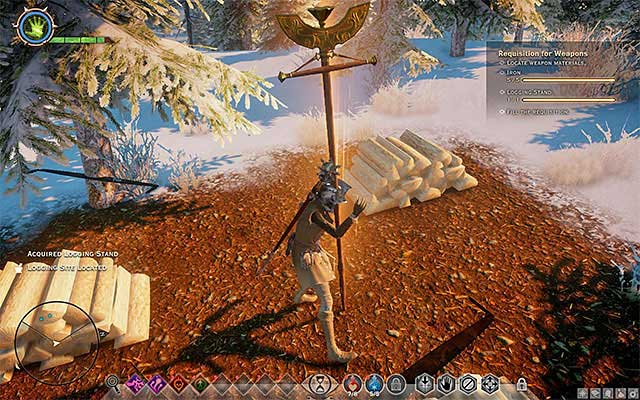 You need to put up a flag in the logging stand - Requisition for Weapons - Side quests - Haven - Dragon Age: Inquisition Game Guide & Walkthrough