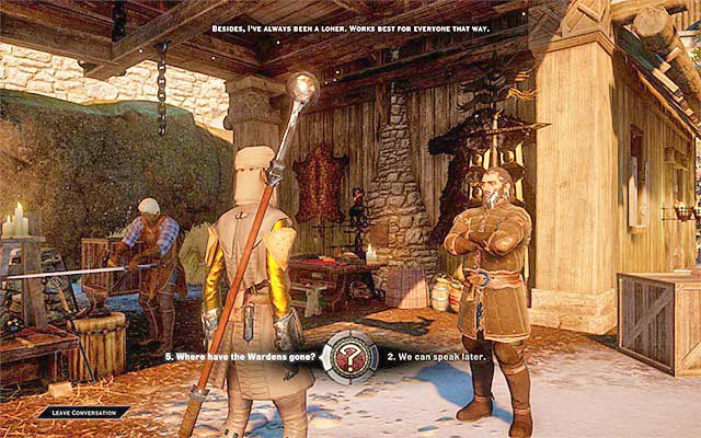 Ask Blackwall about the rest of the grey wardens - Memories of the Grey - The Inner Circle (companion quests) - Dragon Age: Inquisition Game Guide & Walkthrough