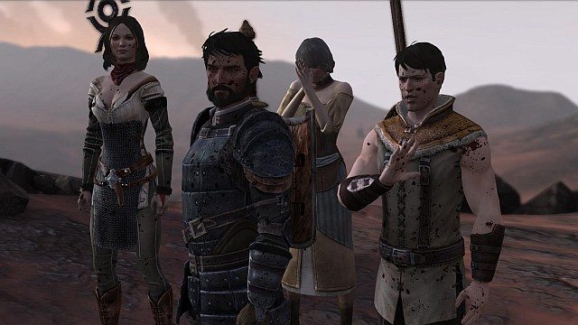 Hawke and his family during the escape from Lothering (prologue) - Dragon Age II storyline - History of Dragon Age - Dragon Age: Inquisition Game Guide & Walkthrough