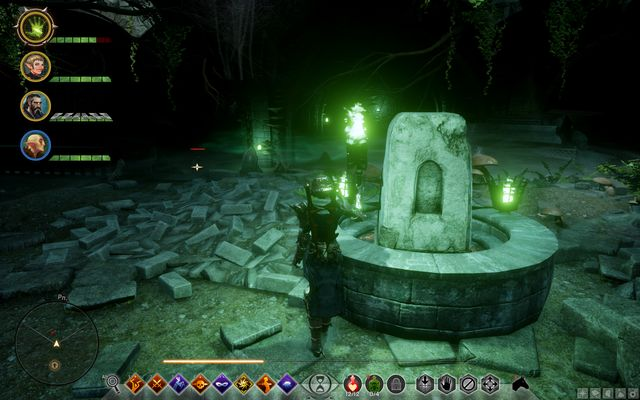 The stone opposite the entrance underground - Rumors of the Sulevin Blade / Ruined Blade - Side quests - Emprise du Lion - Dragon Age: Inquisition Game Guide & Walkthrough