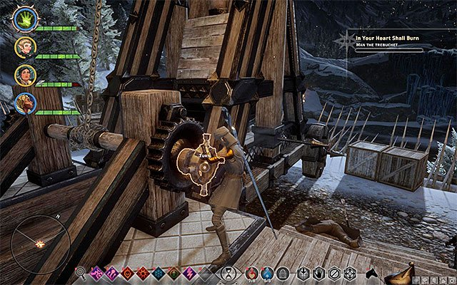 Use the mechanism of the trebuchet - In Your Heart Shall Burn - Main storyline quests (The Path of the Inquisitor) - Dragon Age: Inquisition Game Guide & Walkthrough