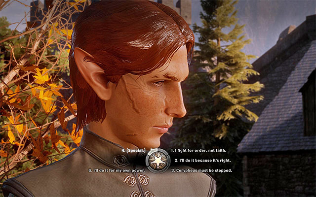 Consider the dialogue options, during the ceremony of appointing the Inquisitions leader - In Your Heart Shall Burn - Main storyline quests (The Path of the Inquisitor) - Dragon Age: Inquisition Game Guide & Walkthrough