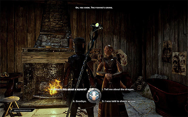 Raise the topic of the wyrm, during the conversation - Wyrm Hole - Side Quests - Crestwood - Dragon Age: Inquisition Game Guide & Walkthrough