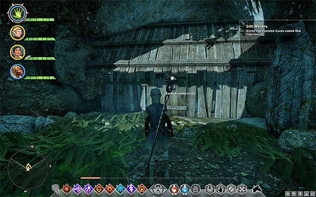 You now need to return towards the gate, where you started your exploration of Crestwood - Still Waters - Side Quests - Crestwood - Dragon Age: Inquisition Game Guide & Walkthrough