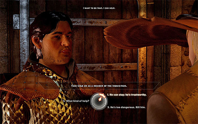 An example important decision to take, during a conversation - Conversations with NPCs in Dragon Age Inquisition - Combat - Dragon Age: Inquisition Game Guide & Walkthrough