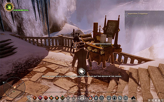 Another interesting innovation is the option to modify the looks of the Skyhold and you do that by interacting with the architects table shown in the screenshot above (Customize Skyhold) - The Skyhold - Inquisitions main HQ in Dragon Age Inquisition - Crafting - Dragon Age: Inquisition Game Guide & Walkthrough