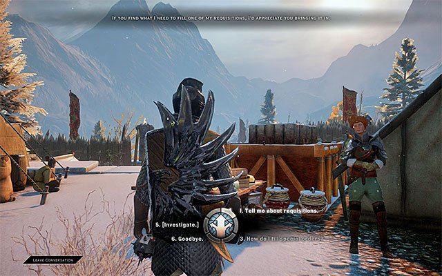 An example quartermaster in Haven - Requisitions - Crafting - Dragon Age: Inquisition Game Guide & Walkthrough