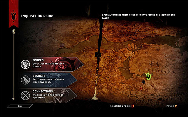 The Perk selection window - Inquisitions Perks - Inquisition - Dragon Age: Inquisition Game Guide & Walkthrough