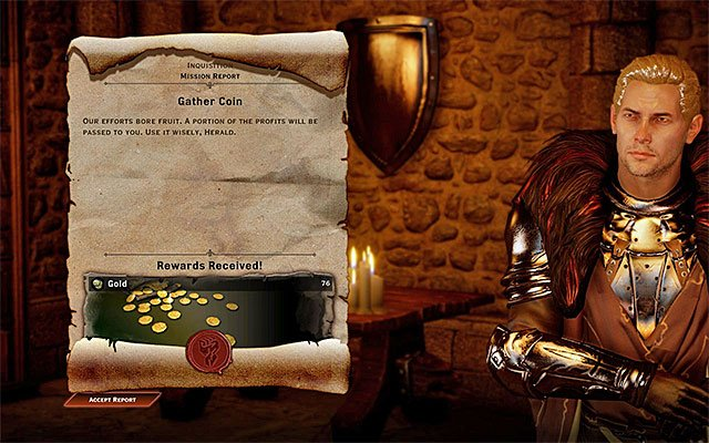 Another interesting way to earn money is to complete missions that you activate in the war room at the Inquisition HQ - How to get rich fast? - Questions and answers - Dragon Age: Inquisition Game Guide & Walkthrough