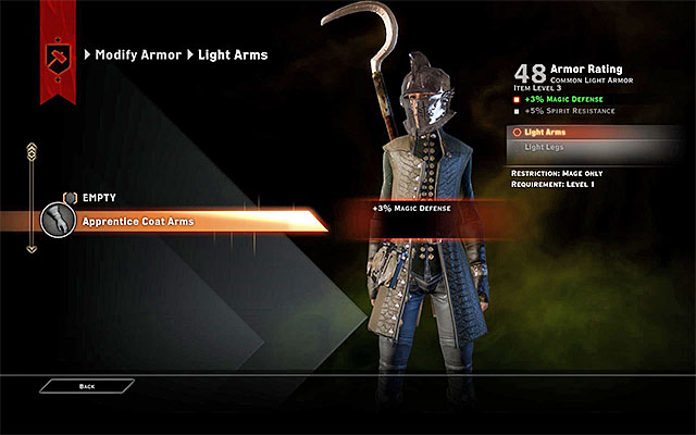 Armor upgrade window - Weapons and Armor Upgrades - Crafting - Dragon Age: Inquisition Game Guide & Walkthrough