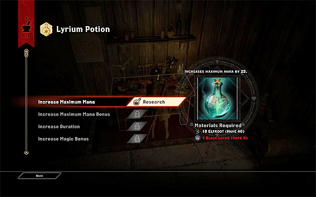 Potions upgrading window - Crafting and upgrading - potions, tonics and grenades - Crafting - Dragon Age: Inquisition Game Guide & Walkthrough