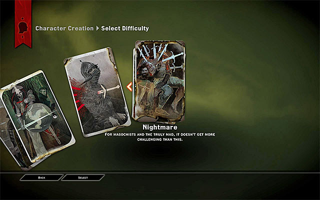 The first time you choose difficulty level s at the beginning of the game - Difficulty level in Dragon Age Inquisition - Character creation - Dragon Age: Inquisition Game Guide & Walkthrough