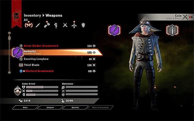Get rid of the items that you do not want, on a regular basis, because the capacity of the inventory is limited - Inventory in Dragon Age Inquisition - Character development - Dragon Age: Inquisition Game Guide & Walkthrough