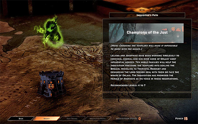 NOTE - taking further steps in this quest means taking up the attempts to obtain the support of the Templars - Champions of the Just (siding with templars) - Main storyline quests (The Path of the Inquisitor) - Dragon Age: Inquisition Game Guide & Walkthrough