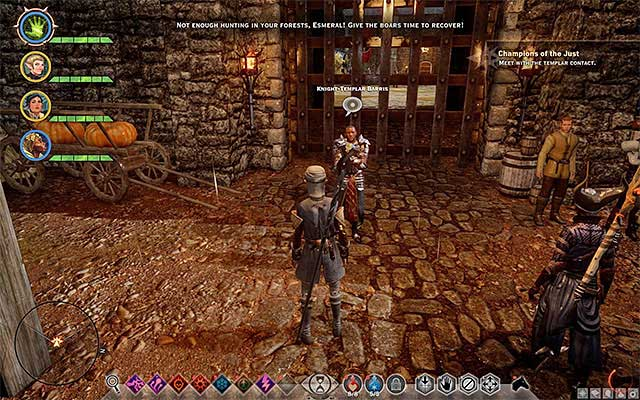 After you meet with Lord Abernache reach the staying place of Barris - Champions of the Just (siding with templars) - Main storyline quests (The Path of the Inquisitor) - Dragon Age: Inquisition Game Guide & Walkthrough