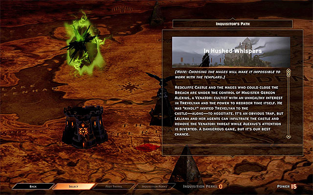 NOTE - taking further steps in this quest means taking up the attempts to obtain the support of the Rebel Mages (apostates) - In Hushed Whispers (siding with mages) - Main storyline quests (The Path of the Inquisitor) - Dragon Age: Inquisition Game Guide & Walkthrough