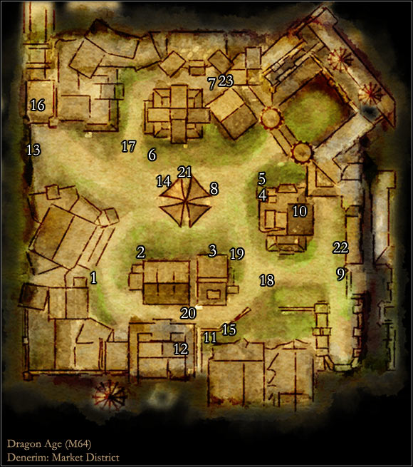 Map M64: Market District | Maps of locations - Dragon Age: Origins Dragon Age Origins Map on