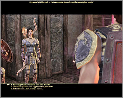 Once you're inside [Denerim - Elven alienage - Tevinter warehouse] (M68, 7) you'll automatically trigger a new conversation with Devera and her bodyguards - Denerim - Unrest in the alienage - Denerim - Dragon Age: Origins - Game Guide and Walkthrough