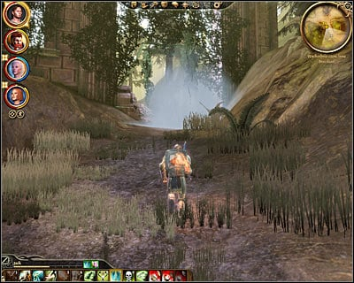 Both methods described above lead to this common solution which is to travel to [Brecilian forest - Eastern part] and to find the magical barrier (M43, 6) - Nature of the beast - Main quests - Dragon Age: Origins - Game Guide and Walkthrough