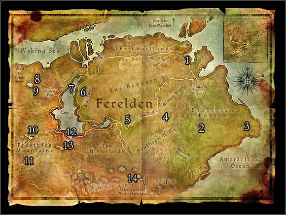 World Map 1: Ferelden. Main locations on the map: 1 – Denerim