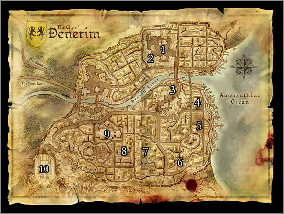 World map 2: Denerim. Main locations on the map: 1 – Market district