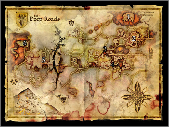 World map 3: The Deep Roads. Main location on the map: 1 � Orzammar