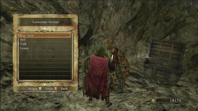 Você pode comprar e vender coisas no comerciante chamado Gavlan.  - Colheita Valley - Passo a passo - Dark Souls II - Guia do Jogo e Passo a passo