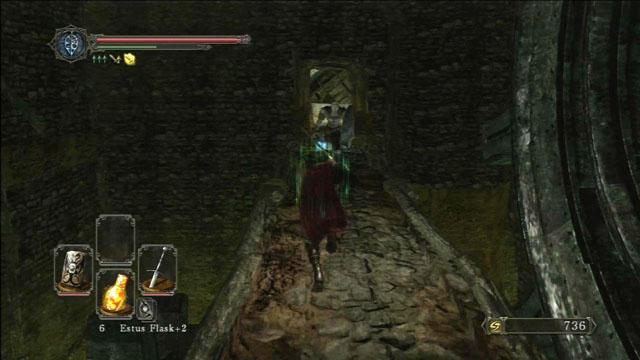 Corra pela ponte em direção ao inimigo.  - Pico de terra - Passo a passo - Dark Souls II - Guia do Jogo e Passo a passo
